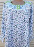 Тепла трикотажна нічна сорочка Трикотаж на байку Натуральна сорочка Промінчики 54 розмір, фото 9