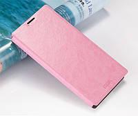 Кожаный чехол книжка Mofi для Huawei Ascend G6 розовый
