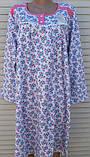 Теплая ночная рубашка Трикотаж на байке Натуральная сорочка Лучики 58 размер, фото 2