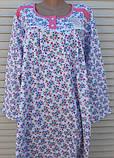 Теплая ночная рубашка Трикотаж на байке Натуральная сорочка Лучики 58 размер, фото 5