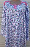 Теплая ночная рубашка Трикотаж на байке Натуральная сорочка Лучики 58 размер, фото 3