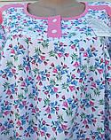 Теплая ночная рубашка Трикотаж на байке Натуральная сорочка Лучики 58 размер, фото 8