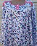 Теплая ночная рубашка Трикотаж на байке Натуральная сорочка Лучики 58 размер, фото 4