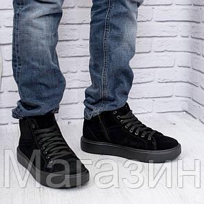 Замшеві чорні зимові черевики, фото 2