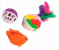Lucky Fox (Лаки Фокс) Игрушка для кошек мышь, меховой шар с пером, шар-погремушка