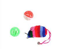 Lucky Fox (Лаки Фокс) Игрушка для кошек цветная мышь, два мячика-погремушки