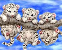 Картина для рисования камнями (стразами) белые тигрята на ветке Diamond painting Алмазная вышивка