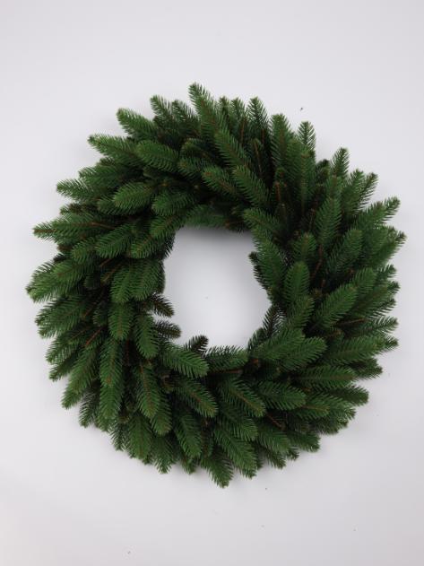 Штучний новорічний вінок з литими  зеленими гілками, розмір 55 см