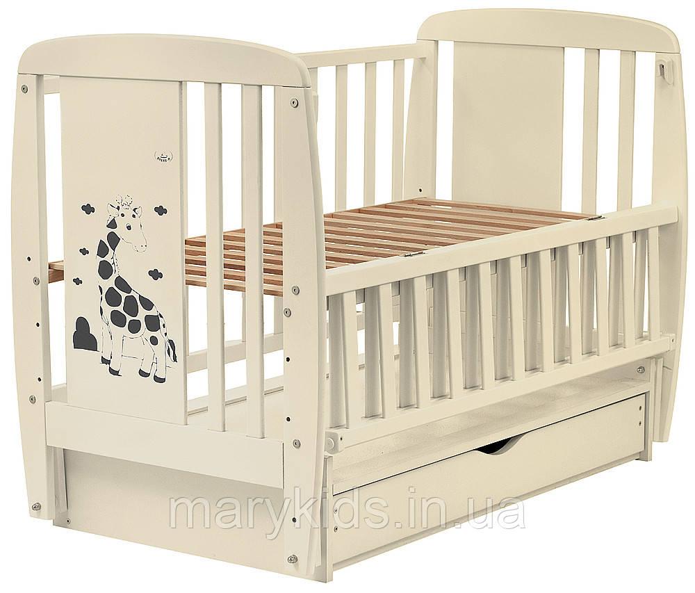 Ліжко Babyroom Жирафик маятник, ящик, відкидний пліч DJMYO-3 бук слонова кістка