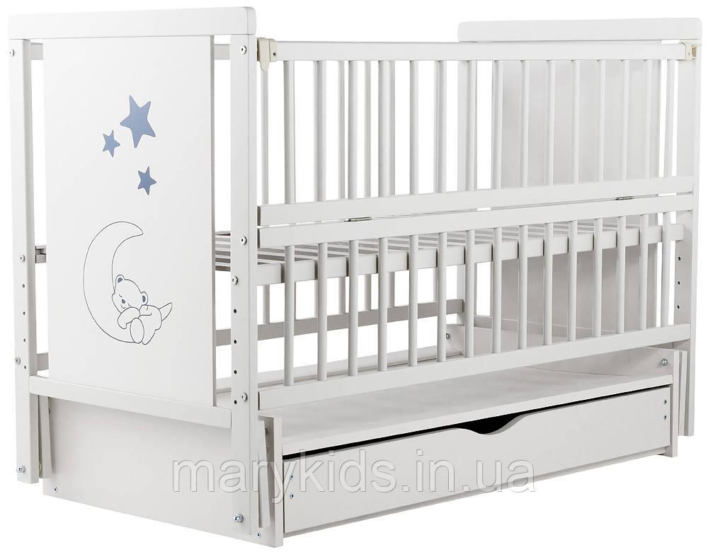 Ліжко Babyroom Ведмежа M-03 маятник, ящик, відкидний пліч бук білий