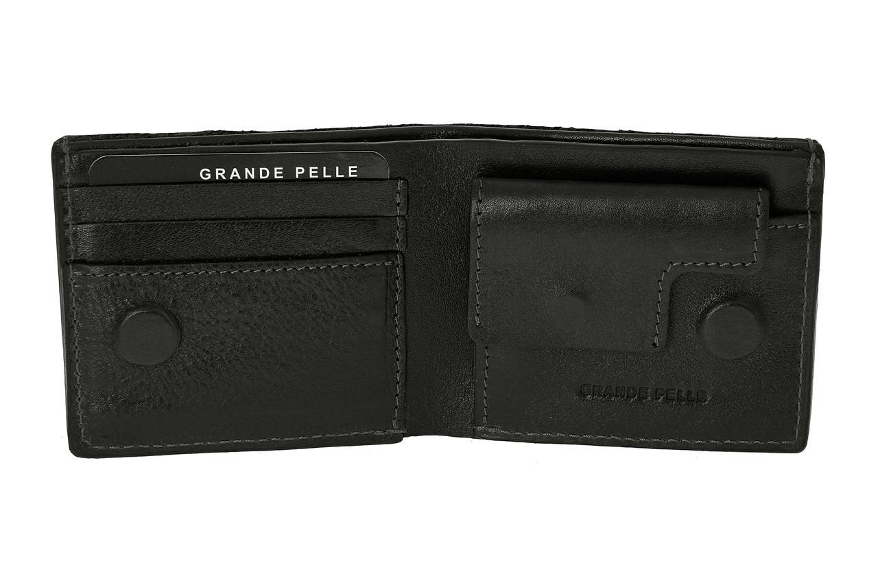 Шкіряний гаманець з монетницею на магнітах чорний, гладка шкіра