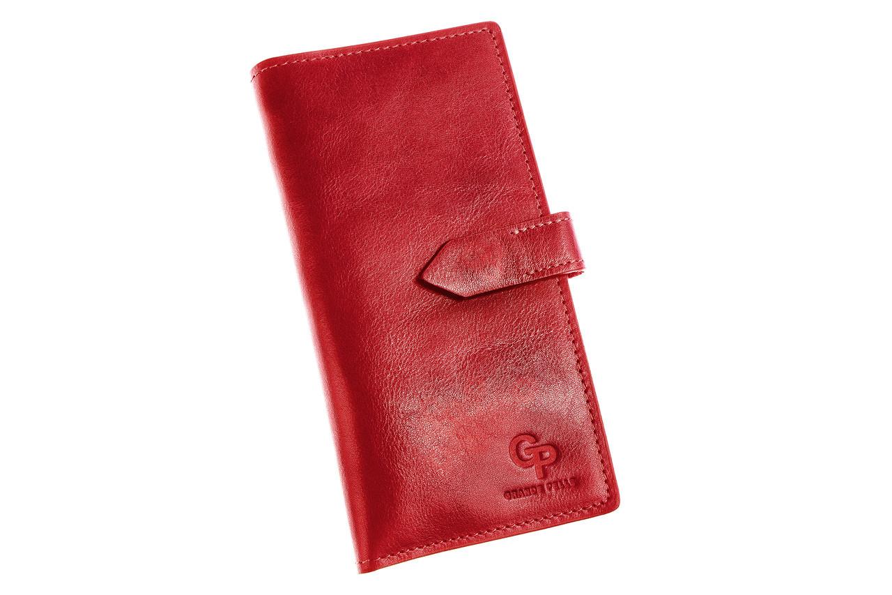 Кошелек женский красный кожаный на кнопке, гладкая кожа