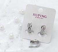 Серьги Xuping в виде восьмерки с белыми фианитами - позолота Белое Золото, высота 16мм, ширина 7мм.