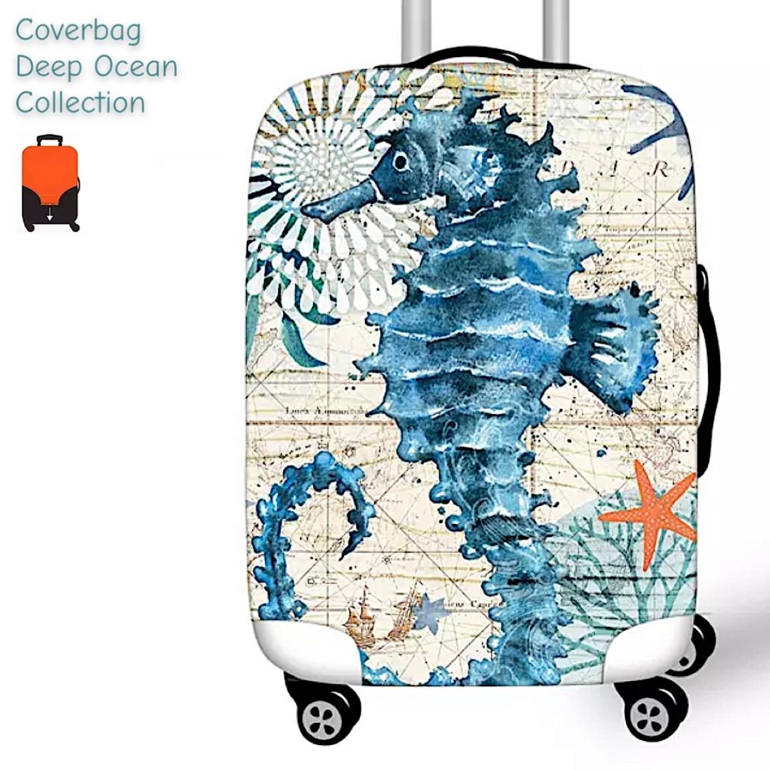 Чехол Deep Ocean  на большой чемодан L  принтом морской конёк