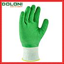 Рукавички робочі трикотажні з повним латексним обливом Doloni Extragrab зелені 4526, фото 2
