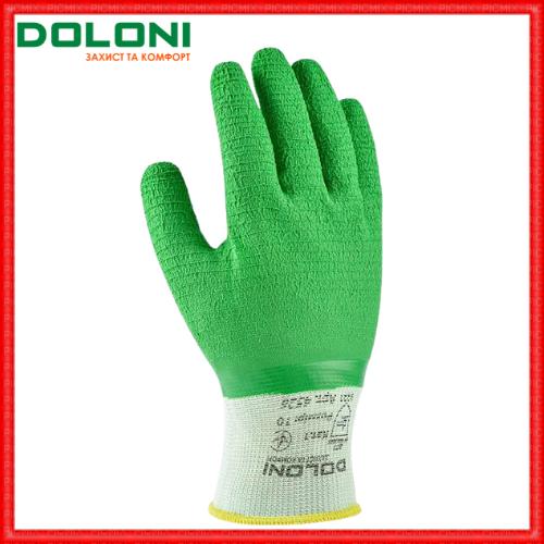 Рукавички робочі трикотажні з повним латексним обливом Doloni Extragrab зелені 4526