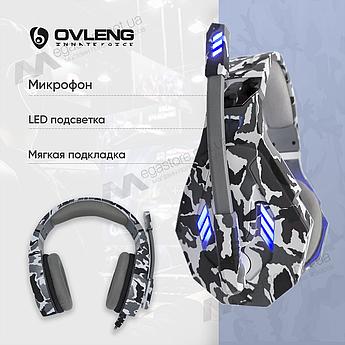 Ігрові навушники з мікрофоном Ovleng GT95 геймерські для комп'ютера ноутбука RGB підсвіткою пс4 ps4