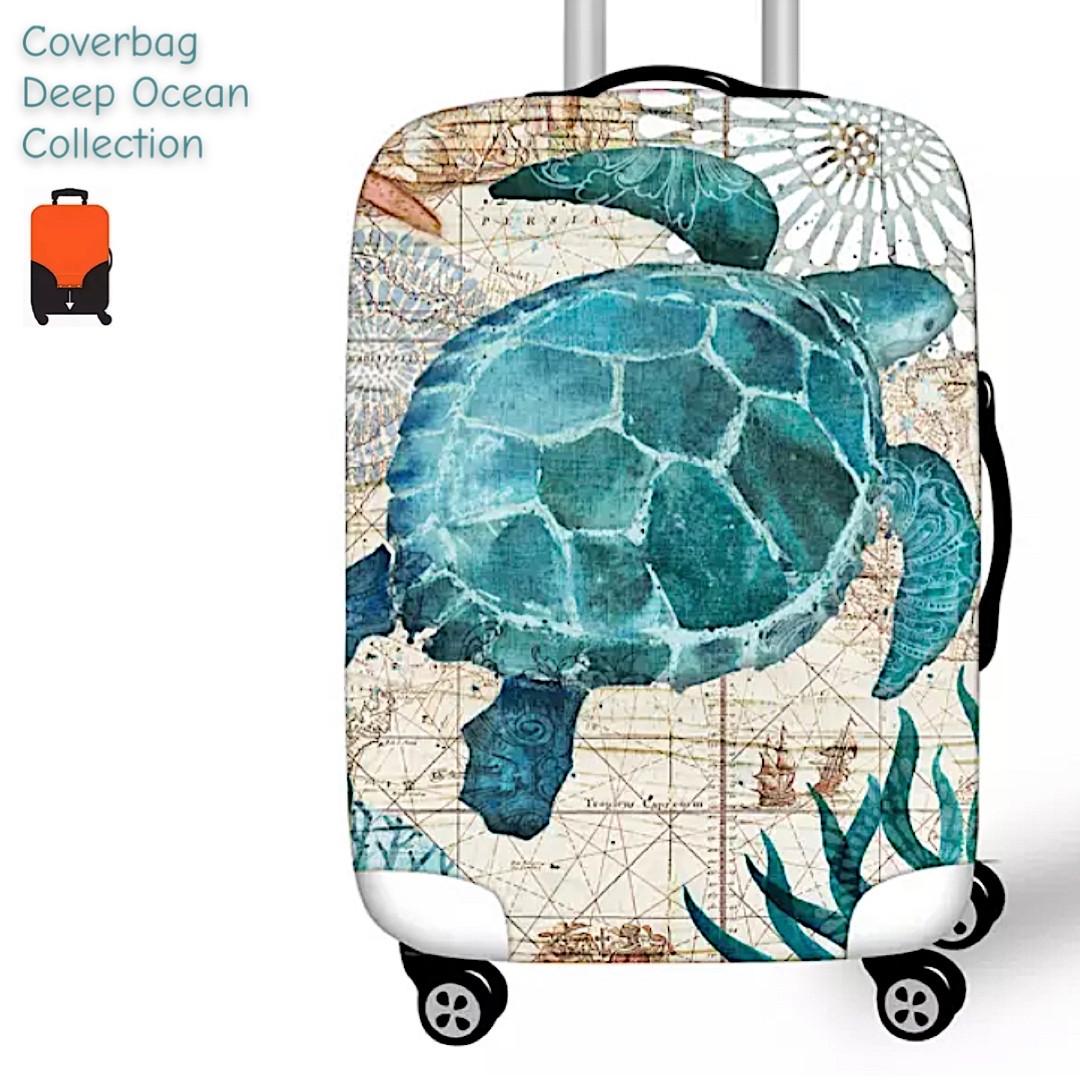 Чехол Deep Ocean на средний  чемодан М с принтом морская черепаха