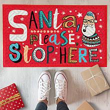 Коврик под двери с принтом Santa, please stop here подарок на Новый год