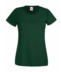 Женская футболка однотонная темно-зеленая 372-38