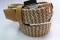 Плетеный ремень-резинка светло-бежевого цвета