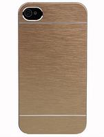 Алюминиевый золотой чехол-накладка Motomo для Iphone 4/4S