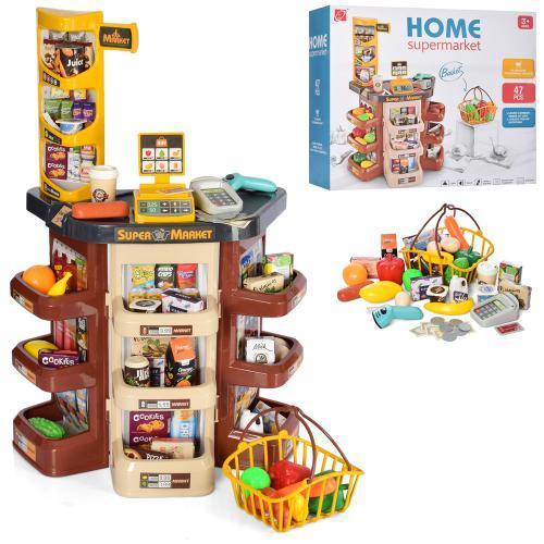 Игровой набор для ребенка магазин прилавок, супермаркет с корзинкой для покупок 668-87 (47 предметов)