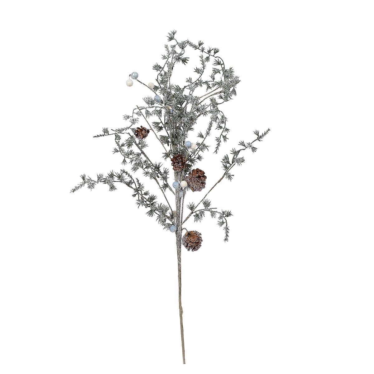 Заснеженная хвойная ветка с шишками и бусинами