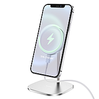 Беспроводная настольная магнитная зарядка для iPhone 12 QI HOCO Magnetic CW32  15W   Серый