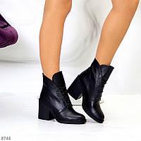 Жіночі шкіряні черевики на стійкому каблуці, фото 1