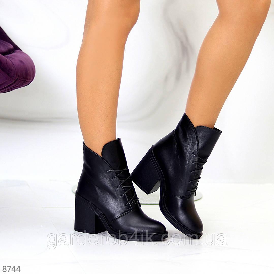Жіночі шкіряні черевики на стійкому каблуці