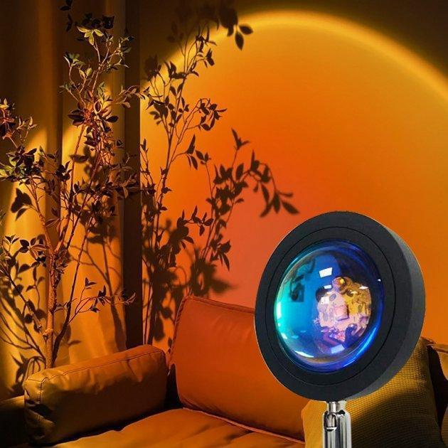 Проекционный светильник Sunset Lamp заката, рассвета  USB led Lamp  свет радужный с поворотом на 180 градусов