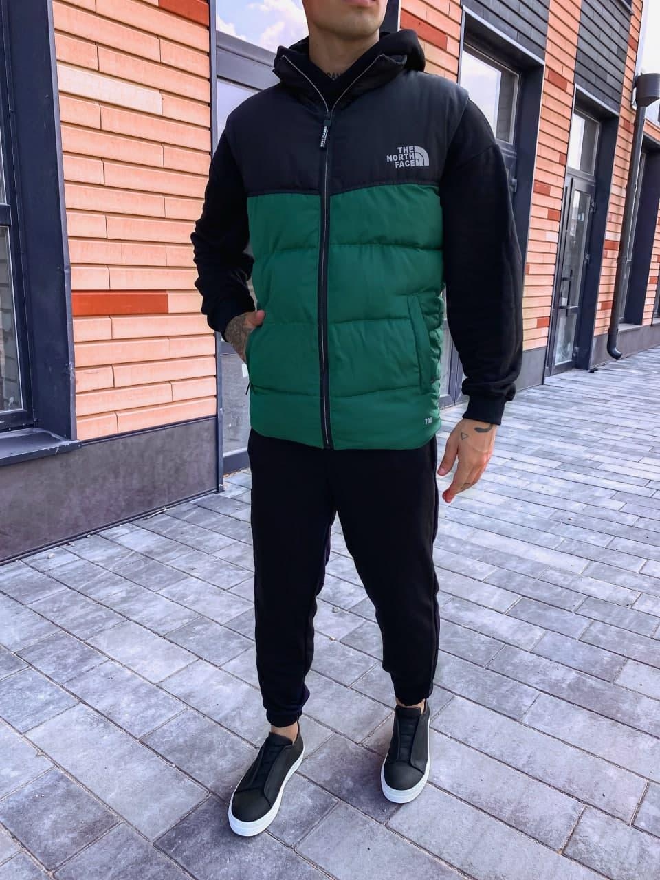 Чоловіча жилетка осіння The north face стильна (зелена) крута куртка на осінь ng5