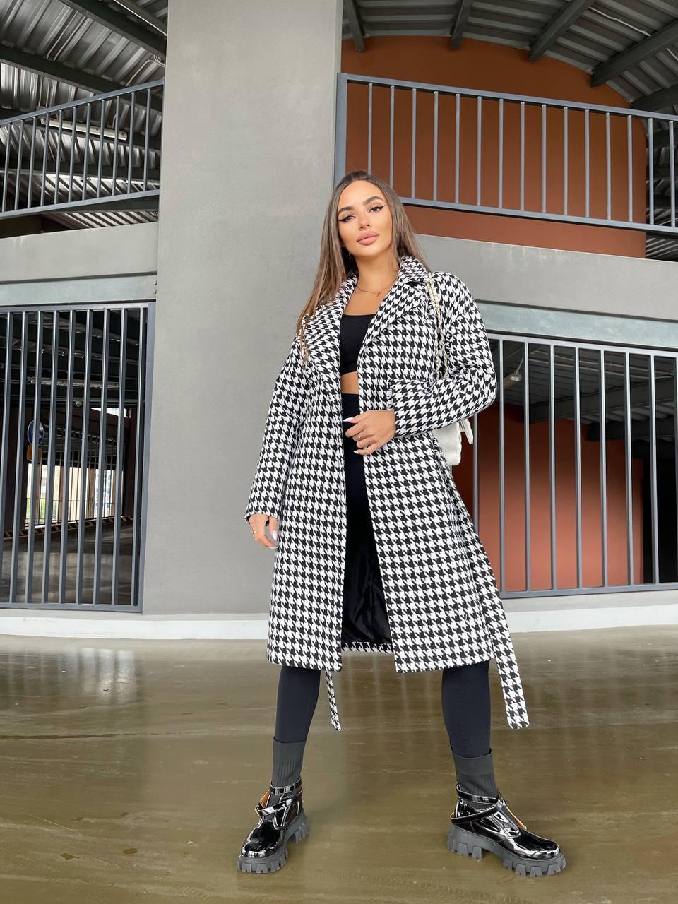 """Стильное длинное пальто в клетку на осень """"Olа"""", модное молодежное пальто с поясом модных расцветок"""
