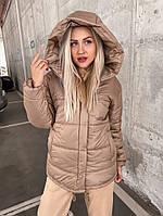 Жіноча коротка куртка на блискавці з капюшоном, фото 1