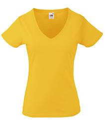 Женская футболка с v-образным вырезом желтая 398-34