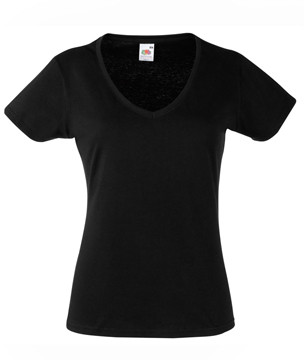 Женская футболка с v-образным вырезом черная 398-36