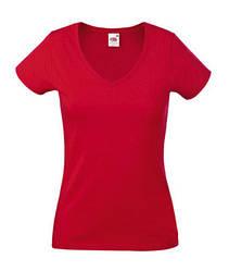 Женская футболка с v-образным вырезом красная 398-40