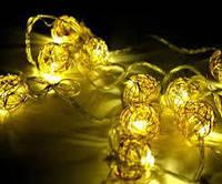 Гірлянда Xmas GOLDEN BALL 10 LED WW-1 Теп.білий 2M