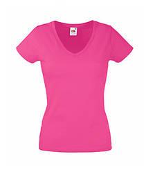 Женская футболка с v-образным вырезом малиновая 398-57