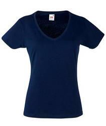 Женская футболка с v-образным вырезом темно синяя 398-AZ