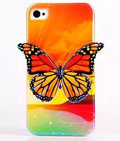 Силиконовый чехол оранжевая бабочка для Iphone 4/4S