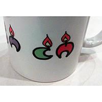 """Чашка с цветной росписью """"Ханукальные свечи. Хаг ханука самеах!"""""""