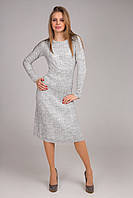Красивое женское вязанное платье миди в модных расцветках