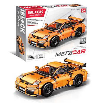 Конструктор Спортивный автомобиль Porsche спорткар IBLOCK инерционный механизм МЕГАCAR