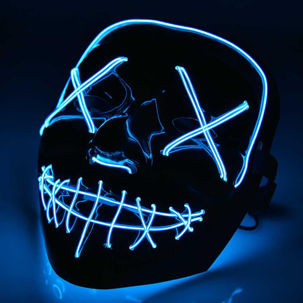 LED маска на Хеллоуїн для обличчя Синя, Halloween маска з судної ночі (маска хэллоуин)