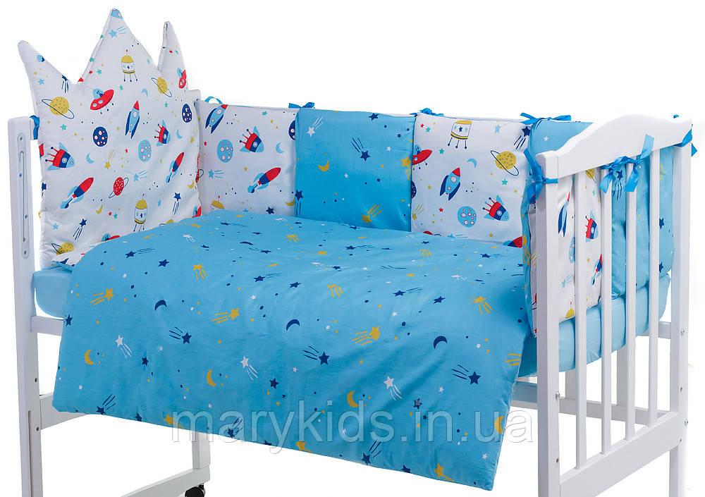 Дитяча постіль Babyroom Classic Bortiki-01 (6 елементів) блакитний-білий (космос)