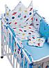 Дитяча постіль Babyroom Classic Bortiki-01 (6 елементів) блакитний-білий (космос), фото 3