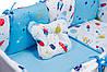Дитяча постіль Babyroom Classic Bortiki-01 (6 елементів) блакитний-білий (космос), фото 4