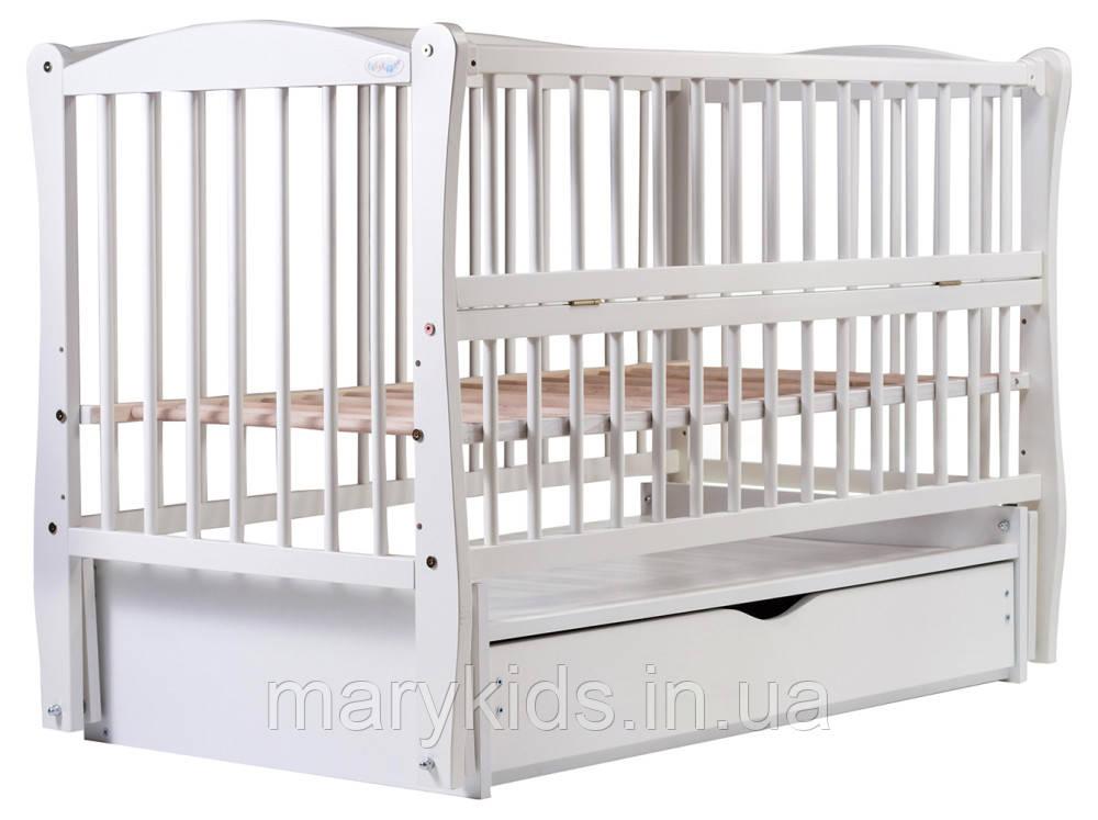 Ліжко Babyroom Еліт маятник, ящик, відкидний пліч DEMYO-5 бук білий